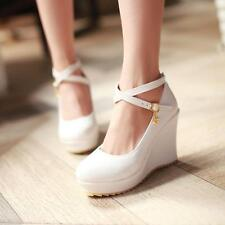 Cute Womens Wedges Heels Platform Ankle Cross Strap Buckle Sandals Shoes Pumps S