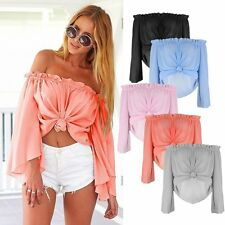 Fashion Women Summer Loose Top Long Sleeve Blouse Ladies Casual Tops T-Shirt New