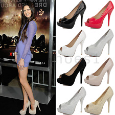 WOMENS LADIES STILETTO HIGH HEEL PLATFORM PEEP TOE COURT SHOES SIZE