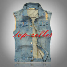 cowboy vest Mens Sleeveless Waistcoat Coat Denim Jeans Weskit Jacket Vest M-3XL
