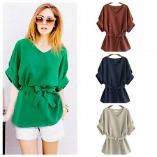 Lady Solid Loose Pullover Tops Half Sleeve T-Shirt Bow Corset Blouse Plus 5Size