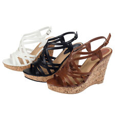 SHESOLE New Arrival Ladies Platform Wedges Sandals Strappy High Heels Shoes