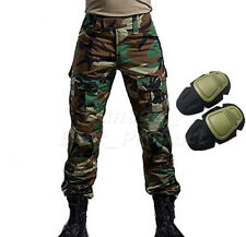 Military Tactical Airsoft Shooting Hunting Combat Pants Knee Pads Woodland Camo
