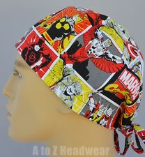 Marvel Comics Characters in Red, Yellow, Black Surgical Scrub Cap Hat