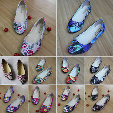 Womens Casual Ballet Slip On Flats Floral Print Boat Shoes Loafers Single Shoes