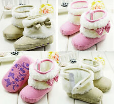 Toddler Baby Girl Faux Fur Lined Soft Sole Snow Boots Crib Shoes 0-18 Months /H