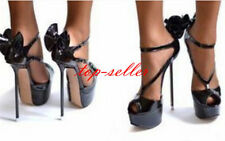 Size US12 Womens Sexy Black High Heels Platform Stilettos Bow Knot Party Shoes