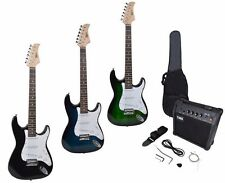 Full Size Beginners Electric Guitar+10w AMP+Guitar Strap+Cord+Gigbag 3 Color New