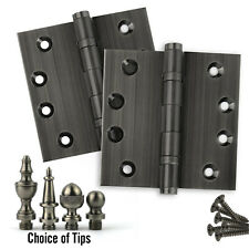 Set of 2 Door Hinges 4 x 4, Extruded Solid Brass Ball Bearing Pewter (US17)