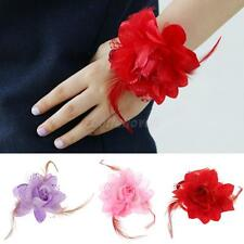 Hot Beautiful Wedding Bride Bridesmaids Hand Wrist Flower with Feather