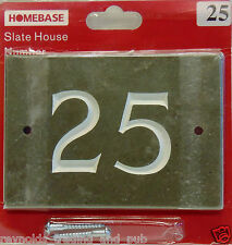 Engraved Grey/Green Slate Heavy Hand Painted House Number 25 Sign Home Plaque