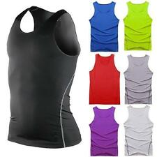Mens Sports Gym Compression Base Layers Tops Tight Tank T-Shirts Vests quick dry
