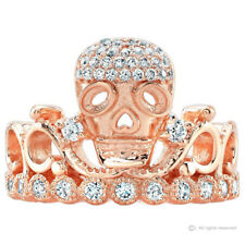 Sterling Silver CZ Skull Crown Ring (Rose Gold Plated)
