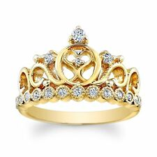 Sterling Silver Heart Crown Ring (Yellow Gold Plated)