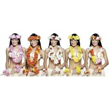 Deluxe Hawaiian Lei Set with Matching Flower Headband and Wristbands