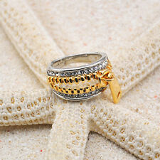 18K GP 2-Tone Zipper Ring Pave Clear Diamond Crystal R511W All Size + Ring box