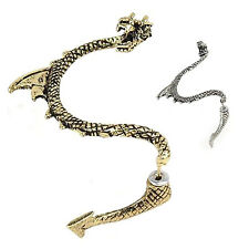 HE519 1pc Gothic Punk Game of Thrones Dragon Ear Cuff Stud Earring-Silver/Bronze