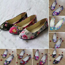 Womens Ballerina Ballet Dolly Pumps Ladies Flower Flat Boat Shoes Casual AU3.5-8