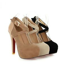 AU Size New Pumps Strap Buckle Lady Shoes Sexy Thick High Heel Women Shoes s278