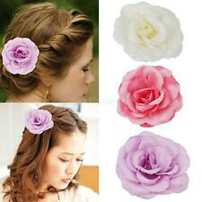 Fashion Flower Fabric Wedding Bridal Women Hair Clip Brooch White/Pink/Purple
