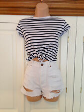 WHITE RIPPED HIGH WAISTED DENIM SHORTS -  SIZE 10