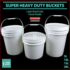 Plastic Bucket with Lid Buckets White 10L 20L Handle Pail Bulk Free Shipping