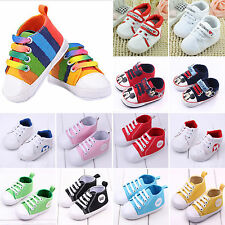 Kids Sneakers Baby Boys Girls Lace Up Soft Sole Crib Shoes Sports Canva Trainers