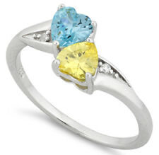 925 Pure Sterling Silver CZ Zirconia Double Heart Ring Aqua Yellow Two Hearts