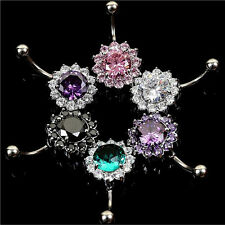 Flower Steel Zircon Crystal Navel Belly Ring Button Bar Body Piercing Jewelry CL