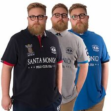 Santa Monica Polo Club Mens Plus Size Polo Shirt King Size Cotton Top 2XL -5XL