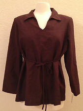 NEW Nautica Woven Cotton L/S Shoulder Padded Pajama Top Sleepwear Brown XXL