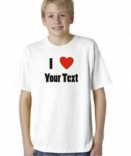 Kids Boys Childrens I Love Heart Your Text Custom Personalized T-Shirt Tee