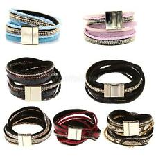 Fashion Womens Mens Artificial Leather Magnetic Cuff Bangle Wristband Bracelet