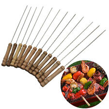 Steel Metal BBQ Roast Barbecue Skewer Grill Kebab Needles Stick Wood Handle