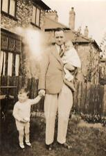 Vintage Old Photograph Black & White Photo 1950s Dad With Children Garden Suit