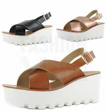 WOMENS LADIES CHUNKY SOLE PLATFORM SUMMER SANDALS WEDGES FLATFORM SHOES SIZE 3-8