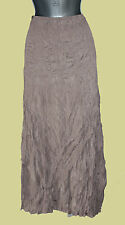 *MONSOON*Brown/Mink Crinkle Elastic Waist Day Evening Maxi Skirt sz-12 EU-40