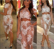 Sexy Women Lace Sheer See Through Bodycon Evening Party Cocktail Club Midi Dress