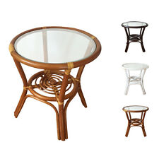 """Rattan Round Coffee End Table model Diana 19"""" with Glass Top 3Colors"""