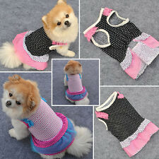 Pet Doggy Tutu Dress Polka Dot Puppy Cats Silk Lace Skirt Princess Party Clothes