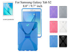 "For Galaxy Tab S2 9.7"" 8.0"" Screen Protector/ X style TPU Rubber Gel Back Case"