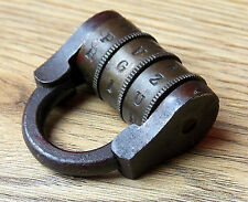 Antique French Brass and Iron Combination Alphabet Padlock, working with code!