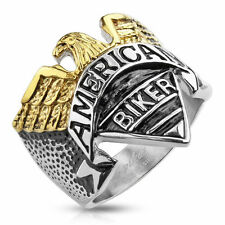 """Eagle with """"American Biker"""" Engraving Stainless Steel Cast Ring Size 9-13"""