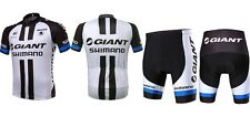 Quick Dry short Sleeve Giant Cycling Mens Jersey+pants Outdoor sport Black white