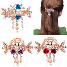 Women Crystal Peacock Flower Hair Crab Claws Clip Rhinestone Barrette Hairpin