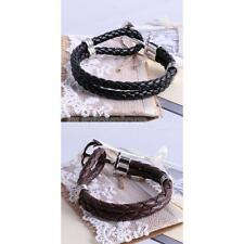 Fashion Multilayer Leather Woven Wristband Anchor Bracelet Bangle-Black/Brown