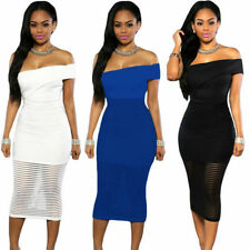 Women Summer Off Shoulder Bodycon Midi Sheer Evening Cocktail Party Dress