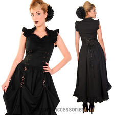 RKN2 Banned Steampunk Corset Victorian Long Black Gothic Goth Dress Burlesque