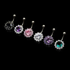 Flower Steel Zircon Crystal Navel Belly Ring Button Bar Body Piercing Jewelry HK