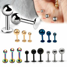 10pcs Stainless Steel Lip Chin Labret Bar Ring Stud Ball Tragus Body Piercing